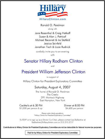 Clinton's Real YearlyKos Conflict: Fundraiser At Billionaire Ron ...