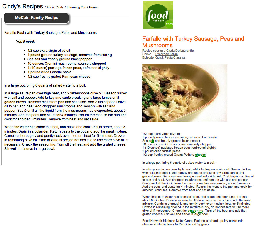An effing foodie heavy lifting mccain family recipes fliched farfalle pasta with turkey sausage peas and mushrooms forumfinder Gallery