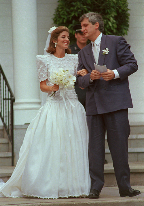 Caroline Kennedy on her wedding day in 1986, without the reported armband
