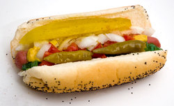 BBQ Chicago hot dog.