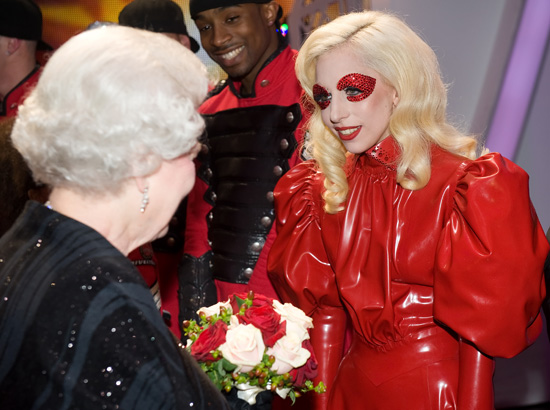 queen elizabeth ii young woman. Gaga meets Queen Elizabeth II