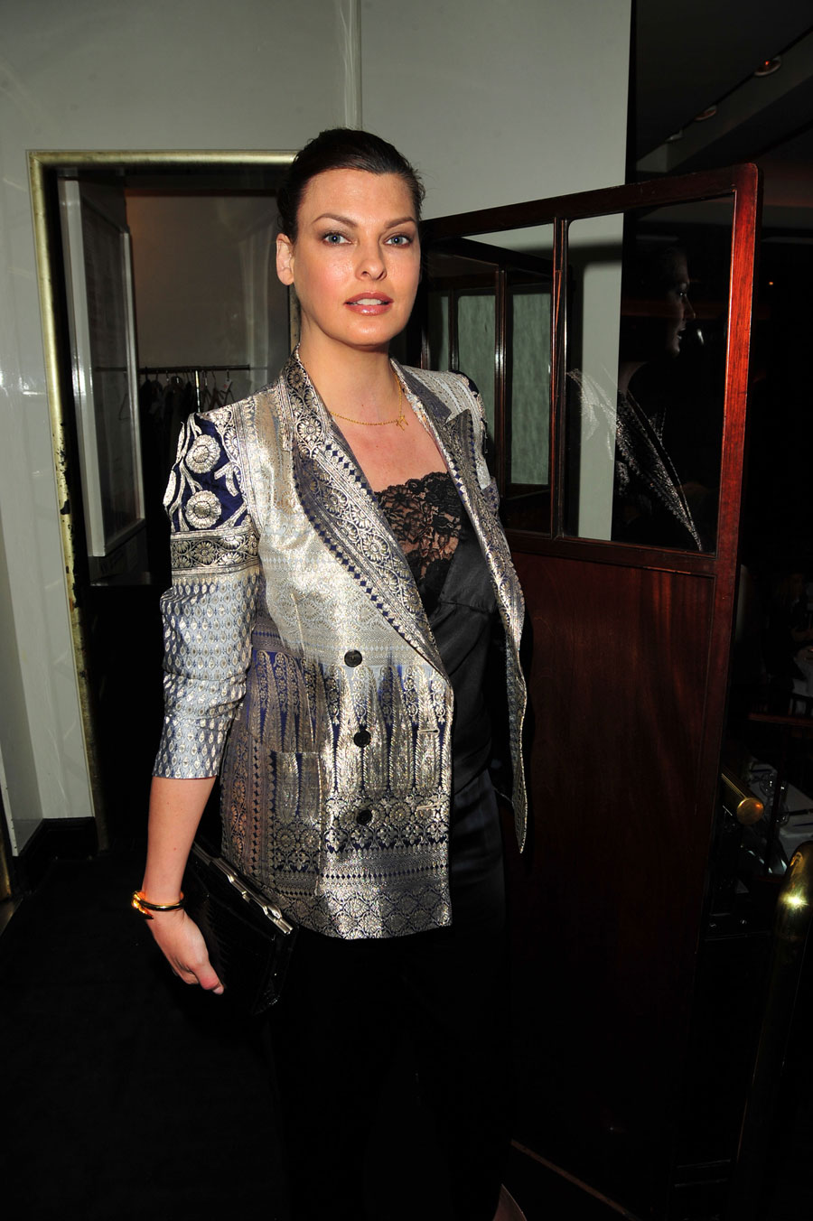 linda evangelista sexy in silver and lace photo huffpost. Black Bedroom Furniture Sets. Home Design Ideas