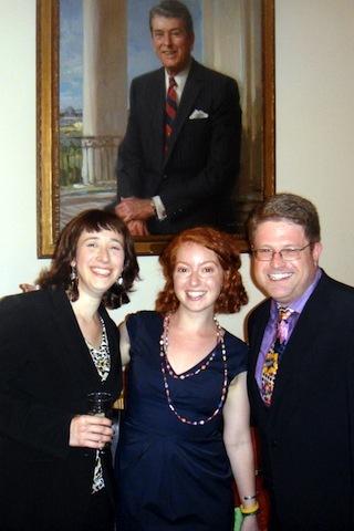 Sarah Lefton, Eli Winkelman, and Shawn Landres with a fellow Californian; photo: Jeremy Ben-Ami