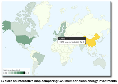 A photo of the world map with a screen shot of the interactive G20 profiles in the Pew report.