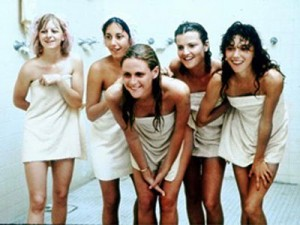 Group young teen shower girls