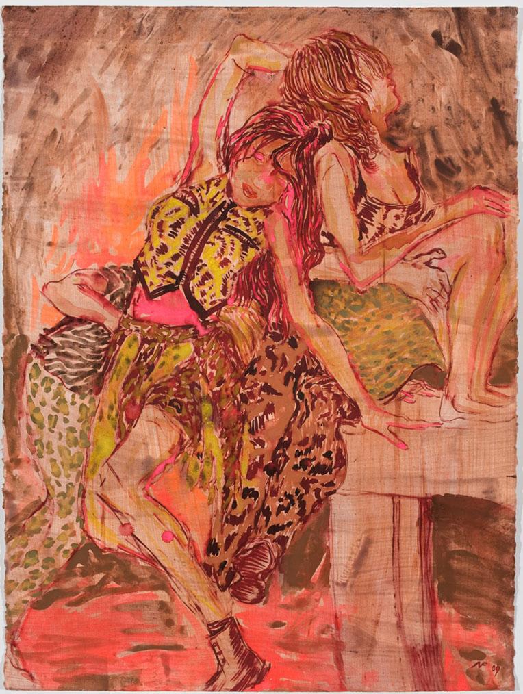 2010-10-04-NFActLikeACheetahHowHowinkwatercolorandacryliconpaper33x26inchesframed2009.jpg