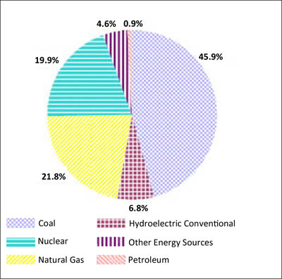 U.S. Electricity by Energy Source, Through June 2010