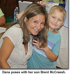 dana mccreesh plays with her son brent
