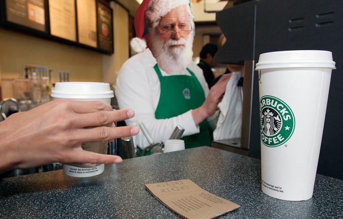 Image result for santa drinking starbucks