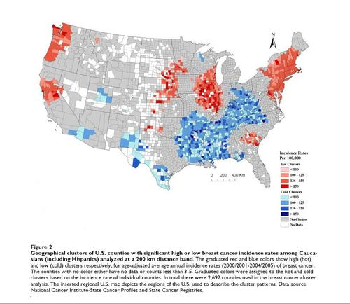Geomedicine Shows Patterns In US Breast And Prostate Cancer - Map of cancer rates in us