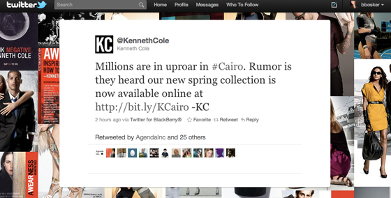 Kenneth Cole trending coverage on Twitter