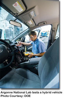 a worker at the Argonne National lab inspects a hybrid car