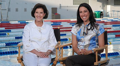 Inez Tenenbaum and Janet Evans at the Pool Safely launch in Ft. Lauderdale, Fla., in May 2010