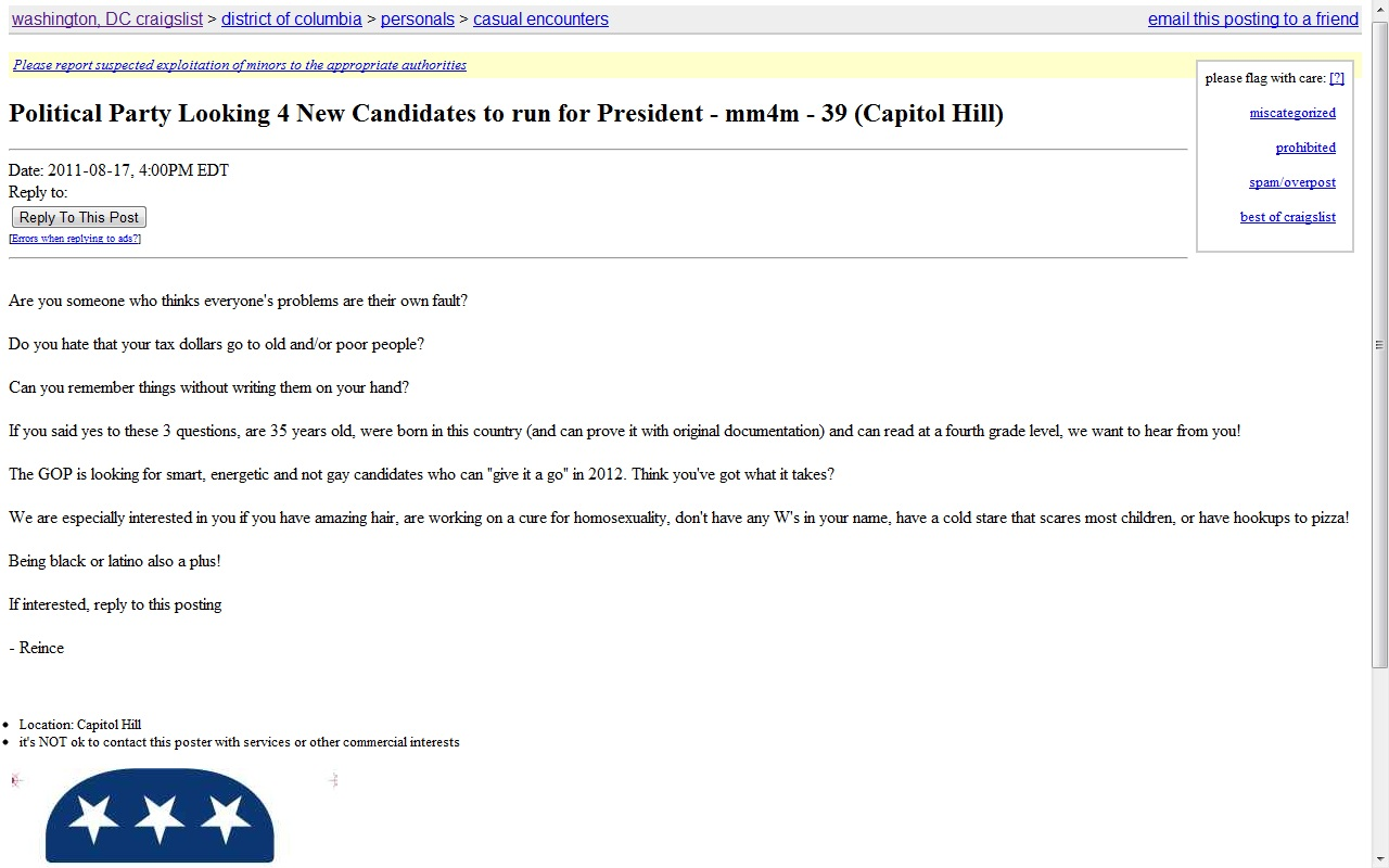 GOP Turns to Craigslist for Obama's Opponent | HuffPost