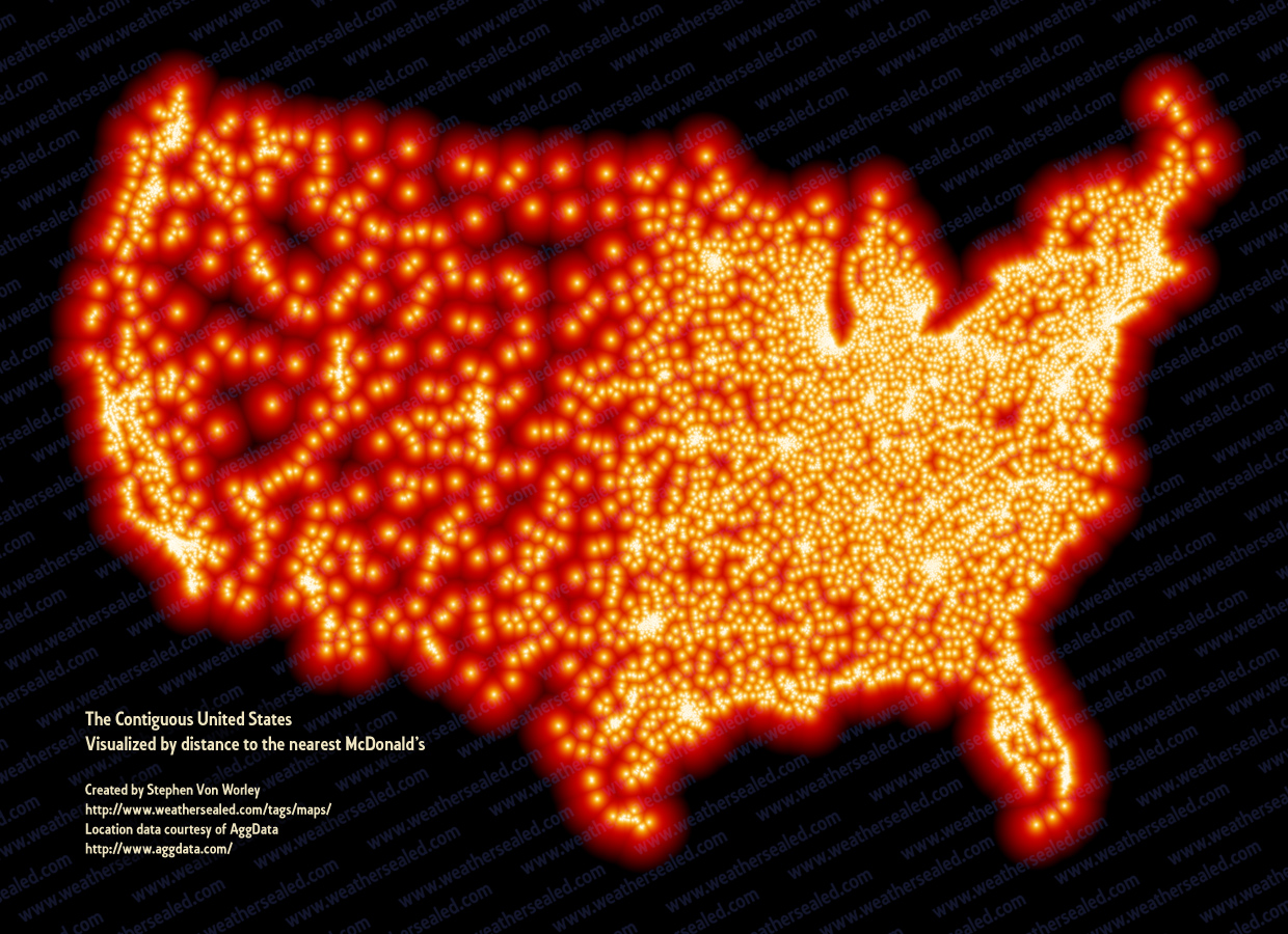 A Map Of Every McDonalds In The US HuffPost - Usa road map distances