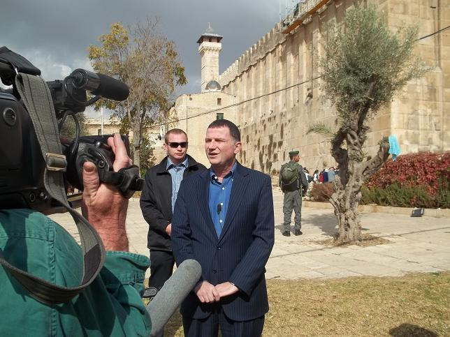 Israel's Minister of Information and Diaspora, Yuli Edelstein in front of the Tomb of Patriarchs in Hebron last Monday. Photo: Anav Silverman