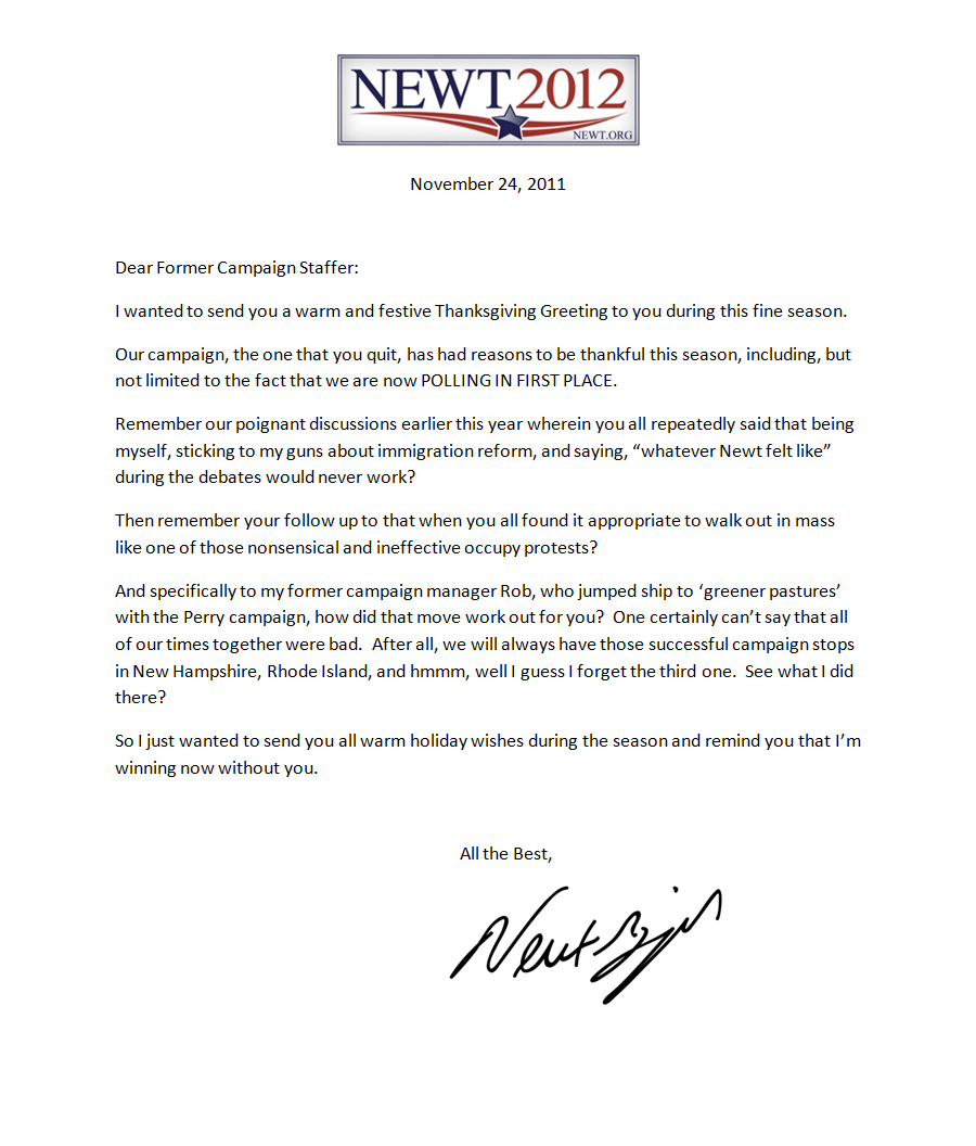 Gingrich Sends Unusual Holiday Greeting To Former Campaign