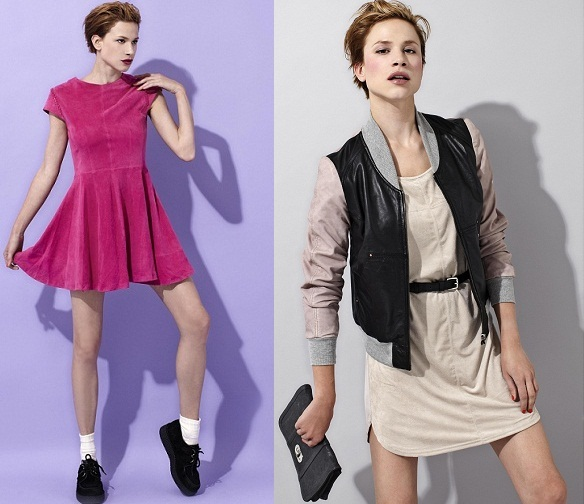 2012-02-06-2_Sarah_McGiven_Fightforyrwrite_Urban_Code_fashion_label_leather_baseball_contrast_jacket_pink_suede_dress.JPG