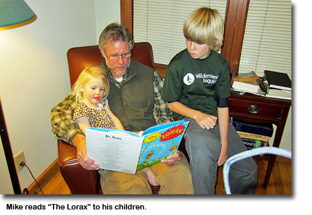 Mike reads the Lorax to his children