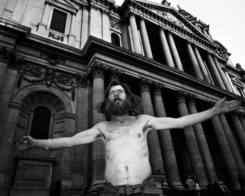 Jimmy. Photographed on Sunday 26 February just after he'd been into St Paul's Cathedral to show them his documents from the Land Registry.