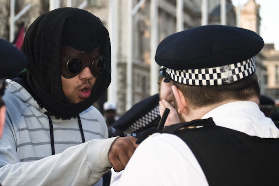 An Occupy protester ranting at a policeman