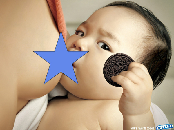 oreo breastfeeding nipple covered