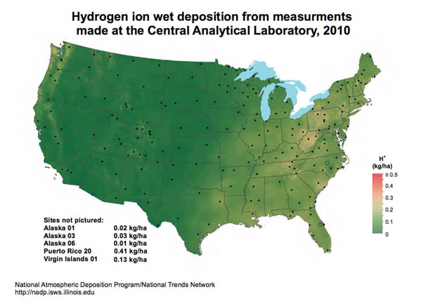 acid rain levels in 2010