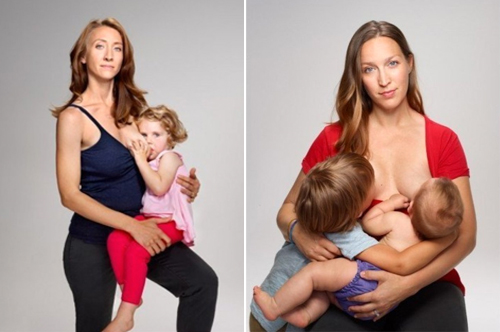slim blonde 26-year-old California mom, breastfeeding her 3-year-old