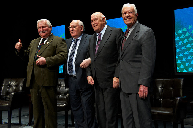 Nobel Laureates Jimmy Carter, Mikhail Gorbachev, Willem de Klerk and Lech Walesa at the 2012 Nobel Laureate Summit
