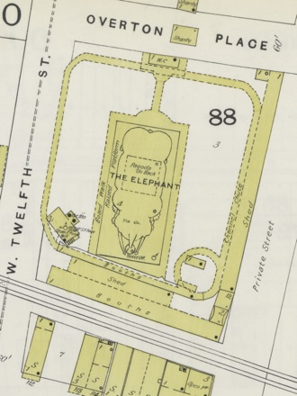 A map of Coney Island's elephant-shaped building