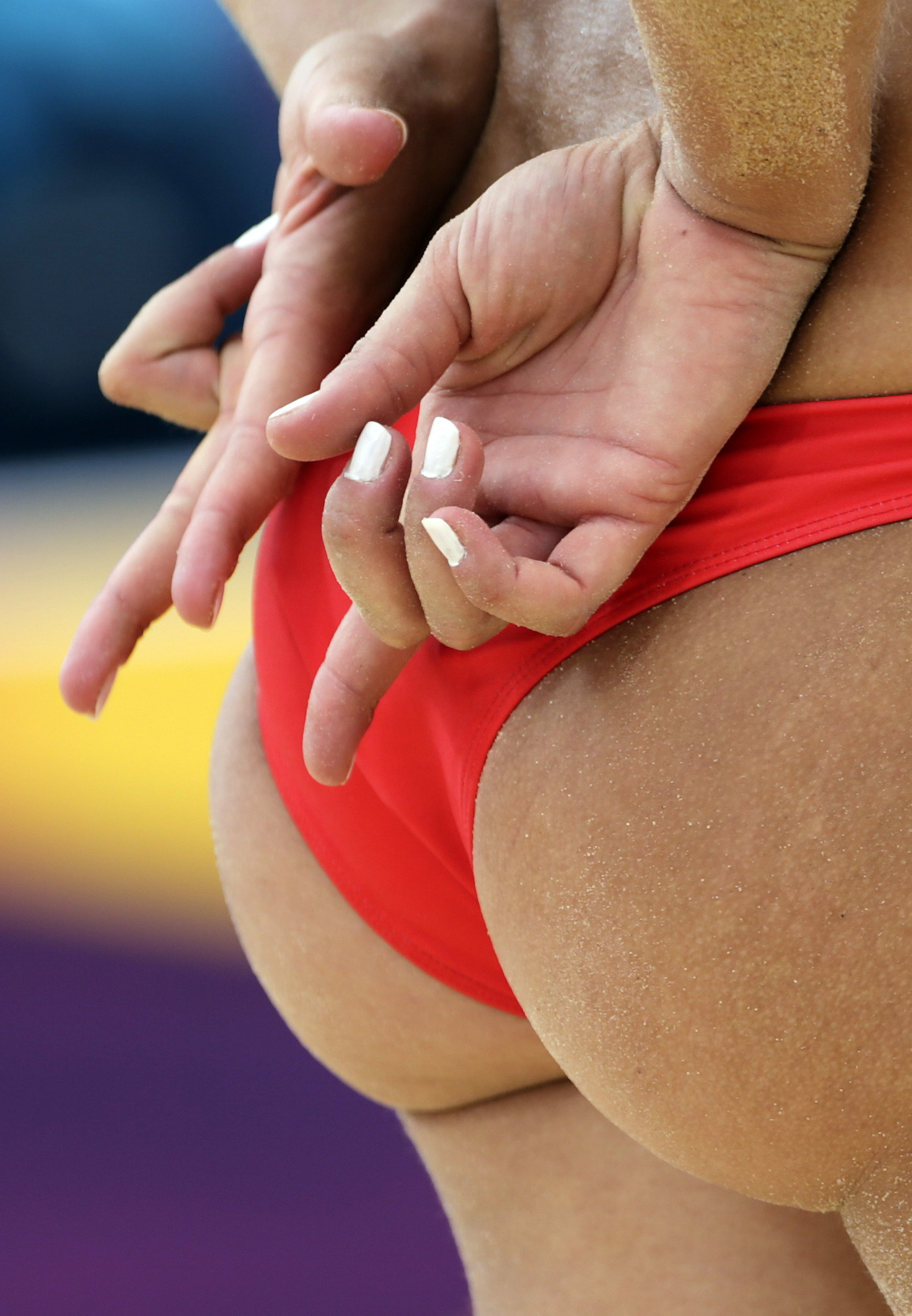 Something is. Volleyball girls ass touch the