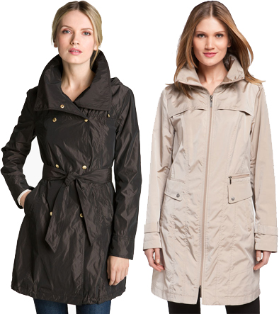 SHOP NOW: Ellen Tracy Packable Double Breasted Trench Coat ($100), Cole Haan Packable Raincoat ($260) ON SALE