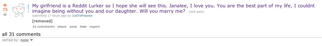 Reddit Proposal: User Proposes To Girlfriend Janalee On
