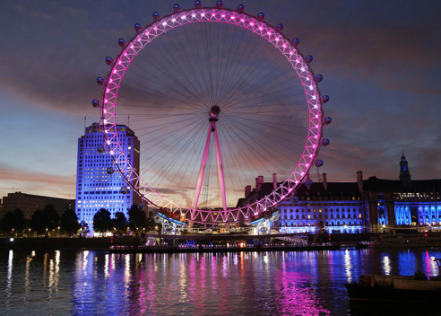 The London Eye lit pink