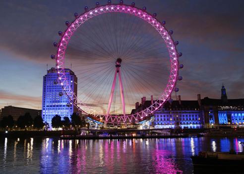The London Eye lit pink