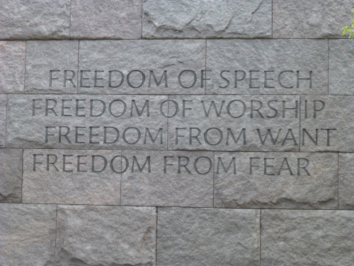 an analysis of franklin d roosevelts the four freedoms speech Inspired by franklin d roosevelt's famous four freedoms speech delivered to congress on the eve of world war ii, norman rockwell created four paintings depicting simple family scenes, illustrating freedoms americans often take for granted.