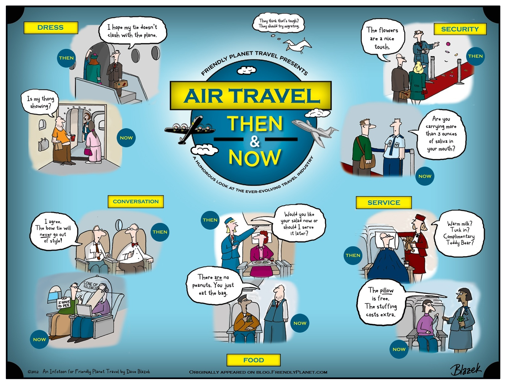 Air travel then vs air travel now