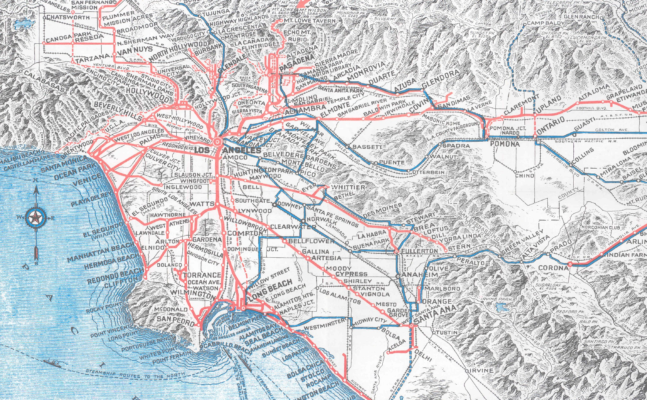 Pacific Electric Red Car In LA Covered  Percent More Mileage - Us railway system map