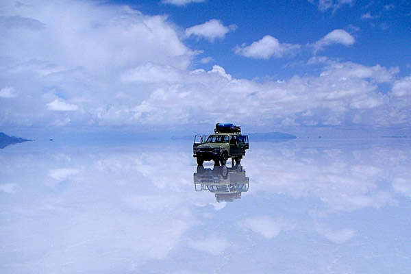 Mirror-like reflections on Salar de Uyuni