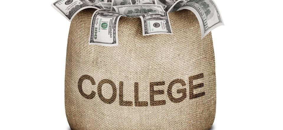 bag of money with college label