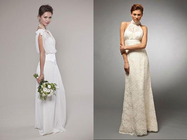 Left: Tony Hamawy Cecile Wedding Dress; Right: Winifred Bean Daisy Gown