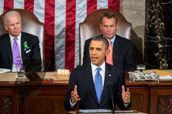 President Obama delivering State of the Union address