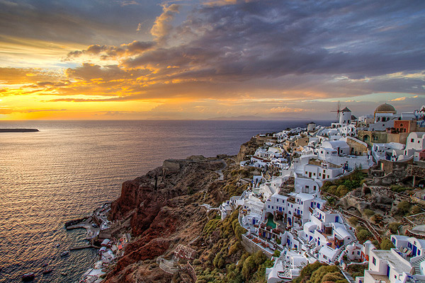 A Santorini sunset over Oia