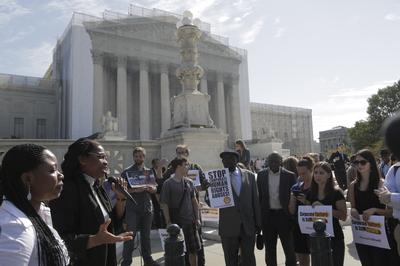 Esther Kiobel outside the Supreme Court