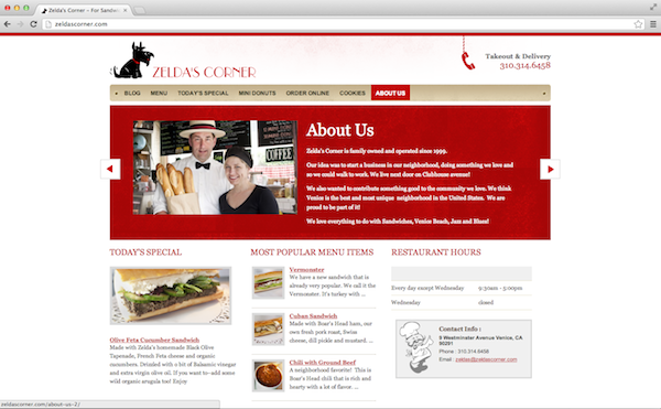 2013 02 25 ZeldasCorneraboutus - Catering to Your Customers: 15 Restaurant Website Best Practices