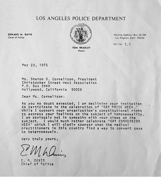 Lapd Gay Conversion Letter  Police Chief Said HeD Rather