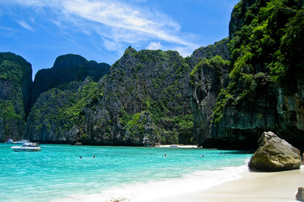 Maya Bay on Koh Phi Phi, where The Beach was filmed
