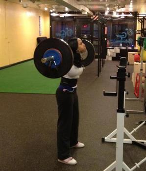 Dawn McLeod squatting