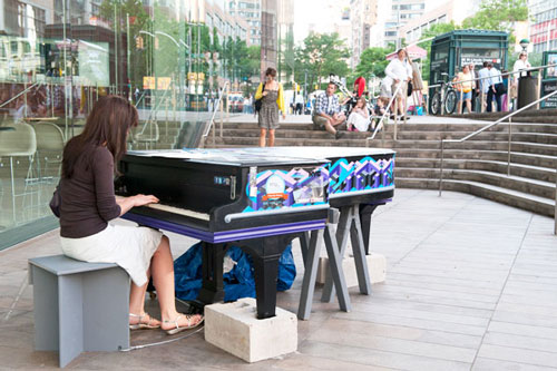 A previous year's Sing for Hope Piano by Volunteer Artist Chris Soria outside Alice Tully Hall
