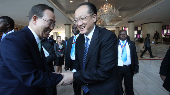 World Bank Group President Jim Yong Kim meets United Nations Secretary-General Ban Ki-moon in Kinshasa